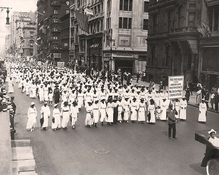 A silent march in New York to protest the police treatment of blacks during riots in East St. Louis in 1917. They marched dow