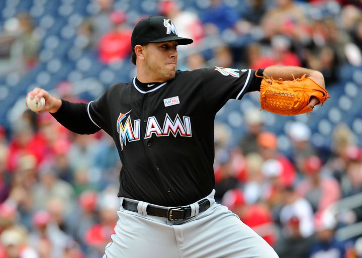 Miami Marlins starting pitcher Jose Fernandez throws a pitch in May 2016. He died in a boating accident later that year.