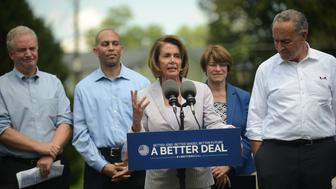 BERRYVILLE, VA - JULY 24: Democrats, among them Senate Minority leader Charles Schumer (D-NY), right, House Minority Leader Rep. Nancy Pelosi (D-CA), on the microphone, Sen. Chris Van Hollen (D-MD), left, roll out their economic agenda at the Rose Hill Park in Berryville, VA, July 24, 2017, to win next year's midterm elections. (Photo by Astrid Riecken For The Washington Post via Getty Images)
