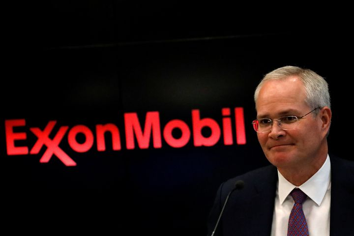 Darren Woods, chairman and CEO of Exxon Mobil, attends a news conference at the New York Stock Exchange.