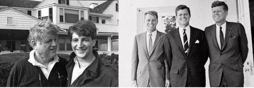 Left: The late Senator Kennedy with son, Patrick. Right:  Brothers at the White House, 1963. Attorney General Robert F Kenned