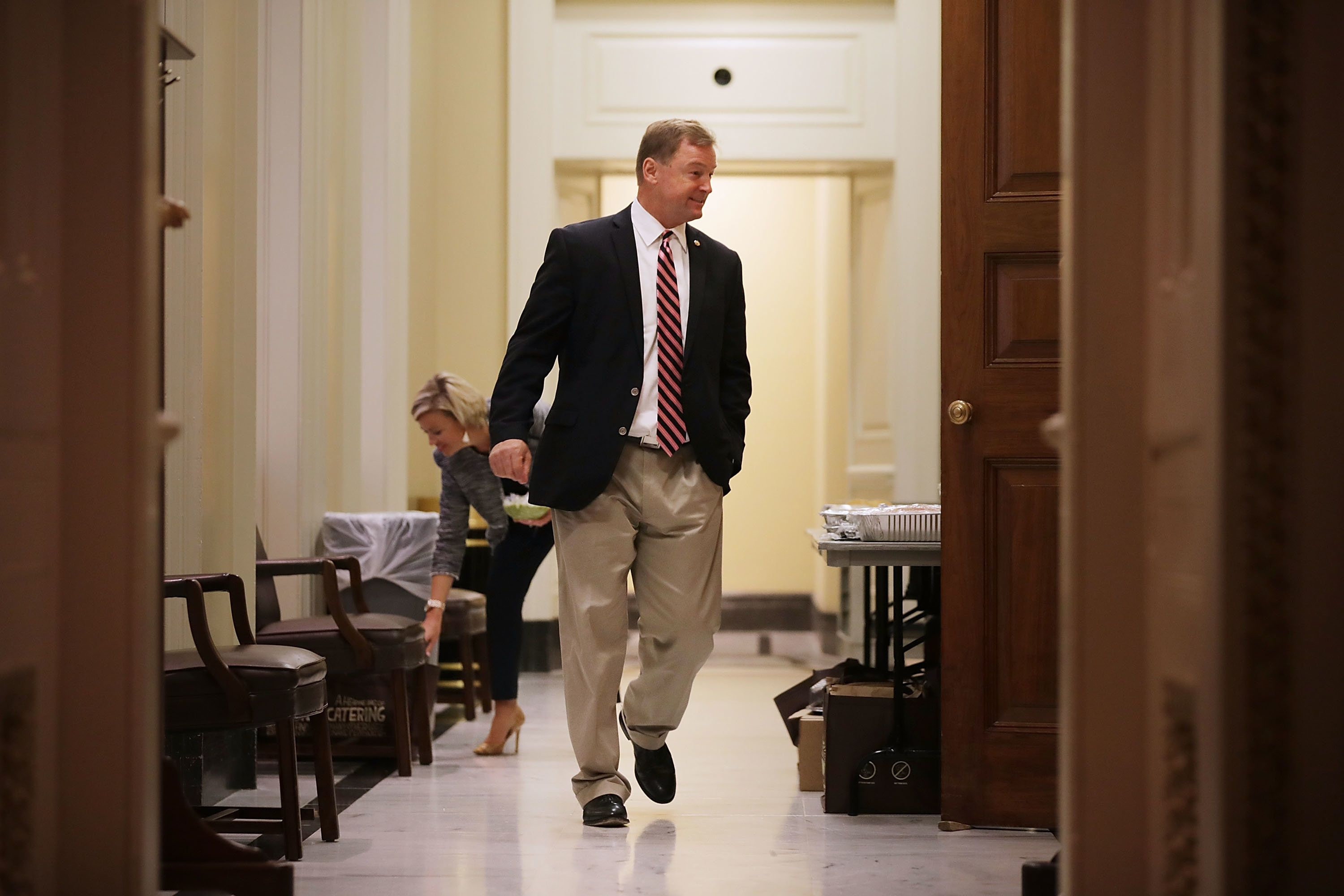 WASHINGTON, DC - JULY 27:  Sen. Dean Heller (R-NV) moves through the halls between votes at the U.S. Capitol  July 27, 2017 in Washington, DC. Senate Republicans are working to pass a stripped-down, or 'Skinny Repeal,' version of health care reform that might do away with individual and employer mandates and tax on medical devices.  (Photo by Chip Somodevilla/Getty Images)