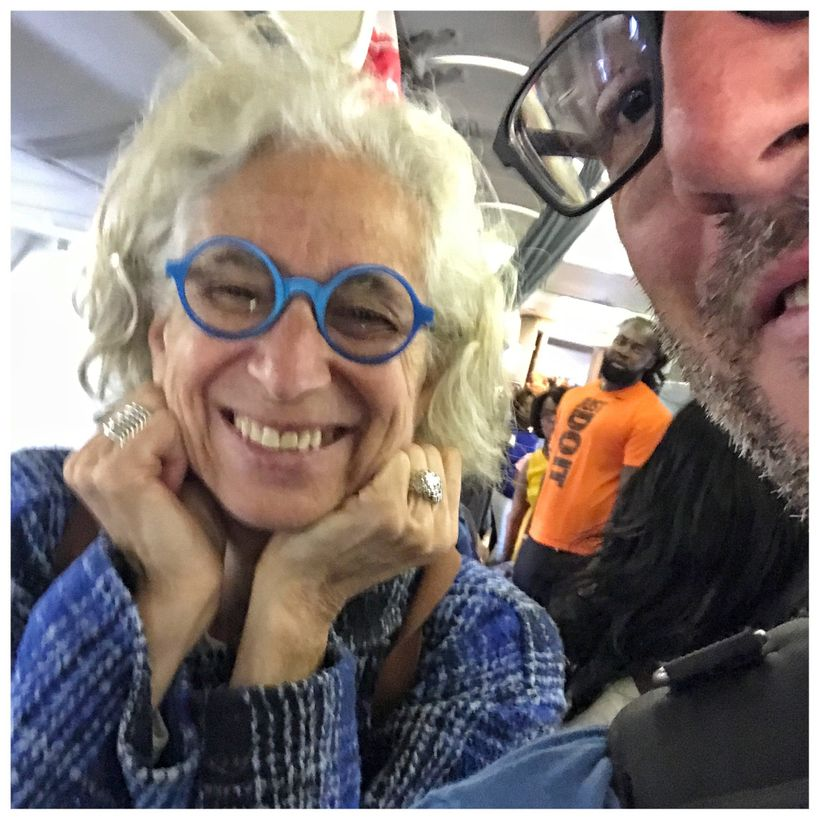 Dr. Aronson and Ed Collier getting ready to depart from JFK Airport, New York.