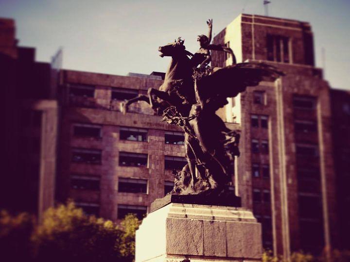 Pegasus statue in front of the Palacio de Bellas Artes, Mexico City.