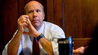 WASHINGTON, DC - JANUARY 30: Rep. John Delaney (D-Md.) meets with members of this staff in his office on Capitol Hill on January 30, 2015 in Washington, DC. Delaney is pushing for improving the America's infrastructure with a change in taxation to help fund the Highway Trust Fund. (Photo by Andrew Harnik for The Washington Post via Getty Images)