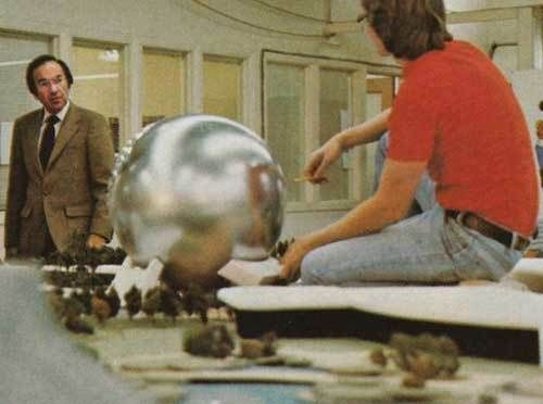 Marty Sklar in WED's model shop in the late 1970s conferring with an Imagineer about EPCOT Center's thesis attraction, Spaces