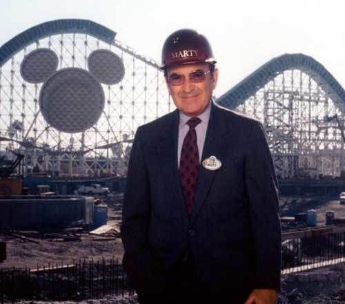 Marty Sklar tours the still-under-construction Disney's California Adventure theme park during the Summer of 2000.