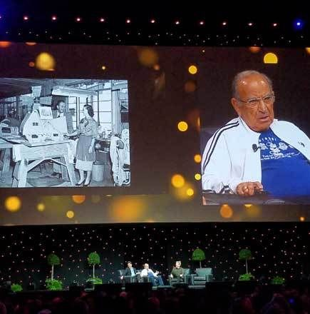 """Marty Sklar shares a story about Harriet Burns at the D23 EXPO's """"Legends of Walt Disney Imagineering"""" panel."""