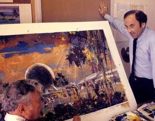 Marty Sklar talks with Herb Ryman about a concept painting for EPCOT Center's entrance complex.