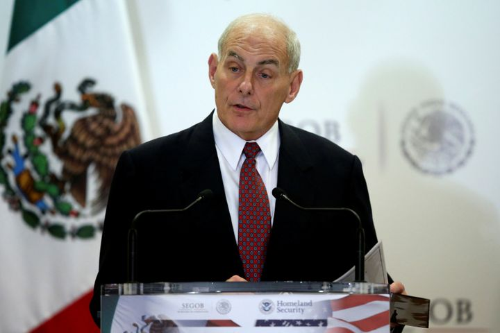 John Kelly, while serving as U.S. secretary of homeland security, delivers a speech at the Secretary of Interior Building in
