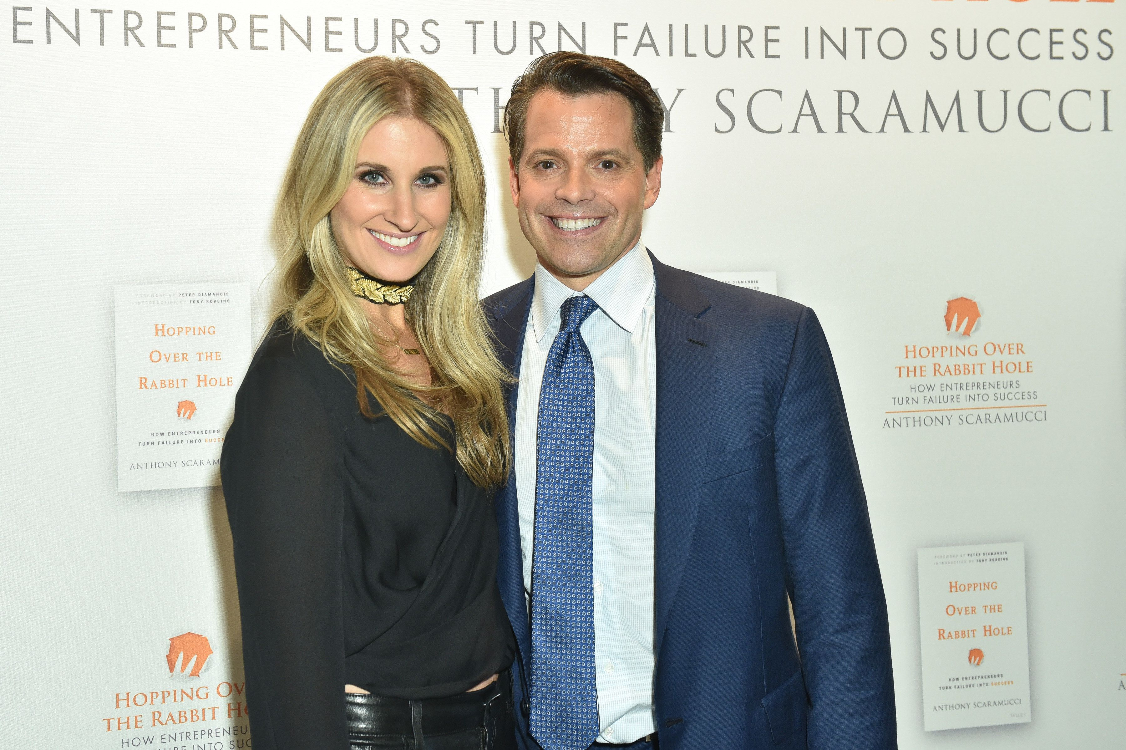 "Deidre Ball and Anthony Scaramucci at a party for Scaramucci's book ""Hopping Over the Rabbit Hole"" last October in New York."