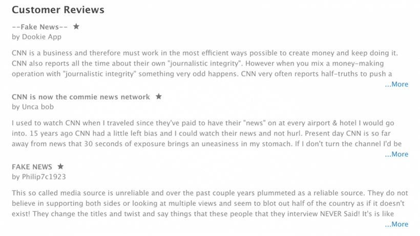 <em>CNN&#39;s latest reviews on the Apple App Store.</em>