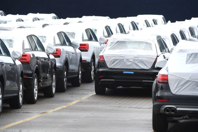 Cars from German manufacturer Audi stand in a row in Bremerhaven, nothern Germany.809,853 passenger...