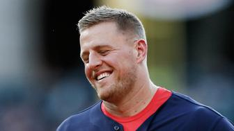 HOUSTON, TX - MAY 13:  J.J. Watt #99 of the Houston Texans during his JJ Watt Charity Softball Game at Minute Maid Park on May 13, 2017 in Houston, Texas.  (Photo by Bob Levey/Getty Images)
