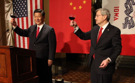 Then Governor or Iowa, Terry Branstad, toasts U.S.-China agricultural partnership in 2012.  Branstad would be confirmed as U.
