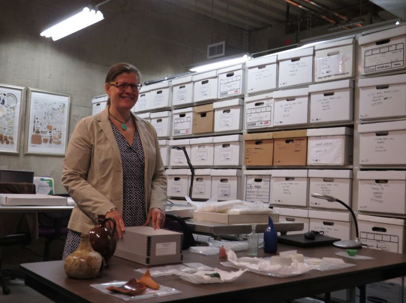 <em>Urban archaeologist, Amanda Sutphin,in the Nan A. Rothschild Research Center of the New York City Archaeological Reposit