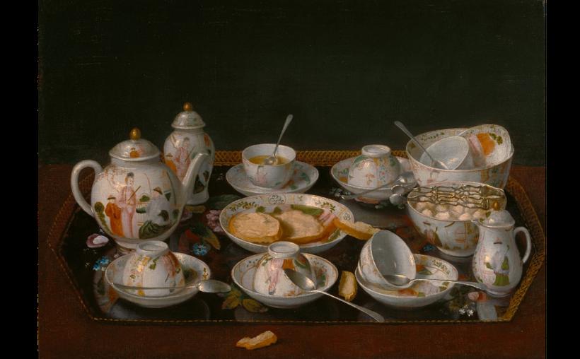 <em>Jean-Étienne Liotard (Swiss, 1702 – 1789),Still Life: Tea Set, about 1781 – 1783, Oil on canvas mounted on board. </em>