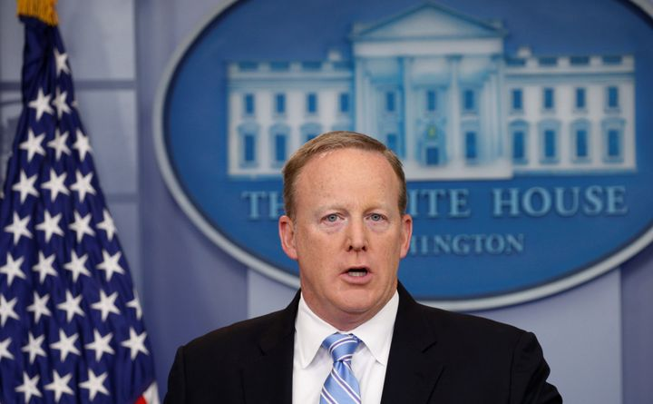 Sean Spicer, who was then White House press secretary, holds a press briefing without television cameras on June 26, 201