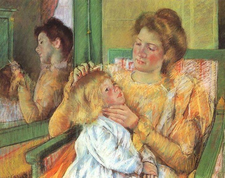 <em>Mary Cassatt (1844-1926),</em> <em>Mother Combing Her Child's Hair, Pastel</em> <em>on Gray Paper, Behest of Mary T. Coc