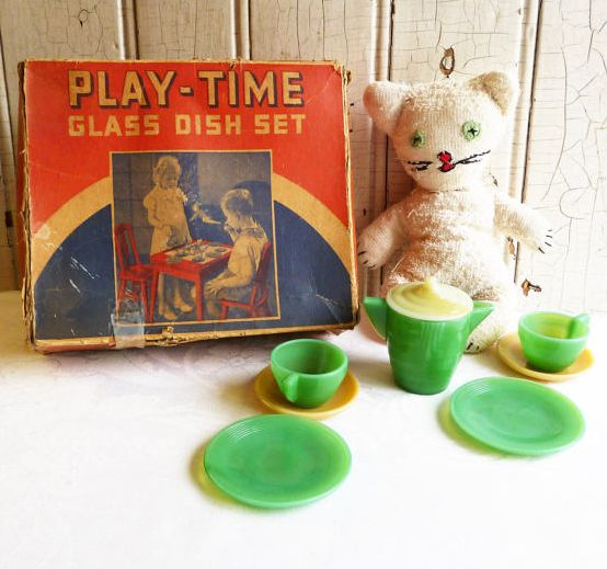 <em>Play-Time Glass Dish Set in its original box. Akro Company produced a wonderful collection of dishes for little girls.