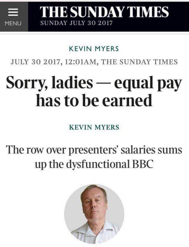 Myers' column has since been deleted and he has been sacked from the Irish Sunday