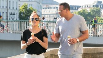 PARIS, FRANCE - JUNE 18: (L-R) Jennifer Lopez and Alex Rodriguez are sighted on the 'Ile Saint Louis' near Notre-Dame-De-Paris cathedral on June 18, 2017 in Paris, France.  (Photo by Marc Piasecki/GC Images)