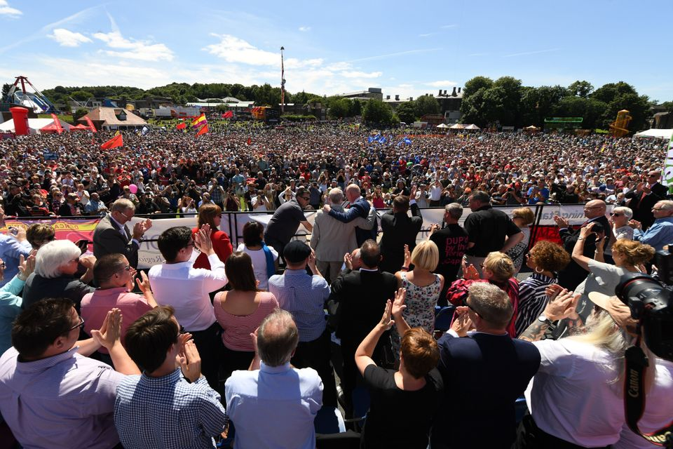 Jeremy Corbyn addresses a rally at the Durham Miners Gala in Durham, north east England on July 8,