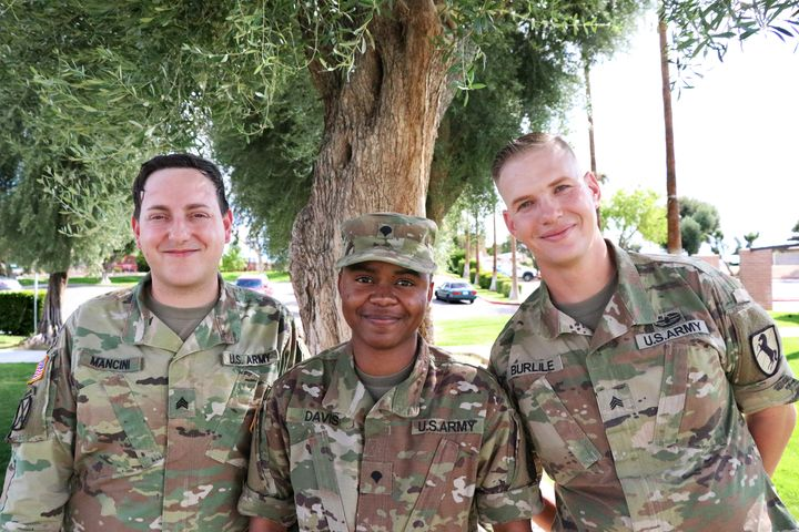 Nicole, Derrick, and Anastasia (trans soldiers stationed at Ft. Irwin, California)