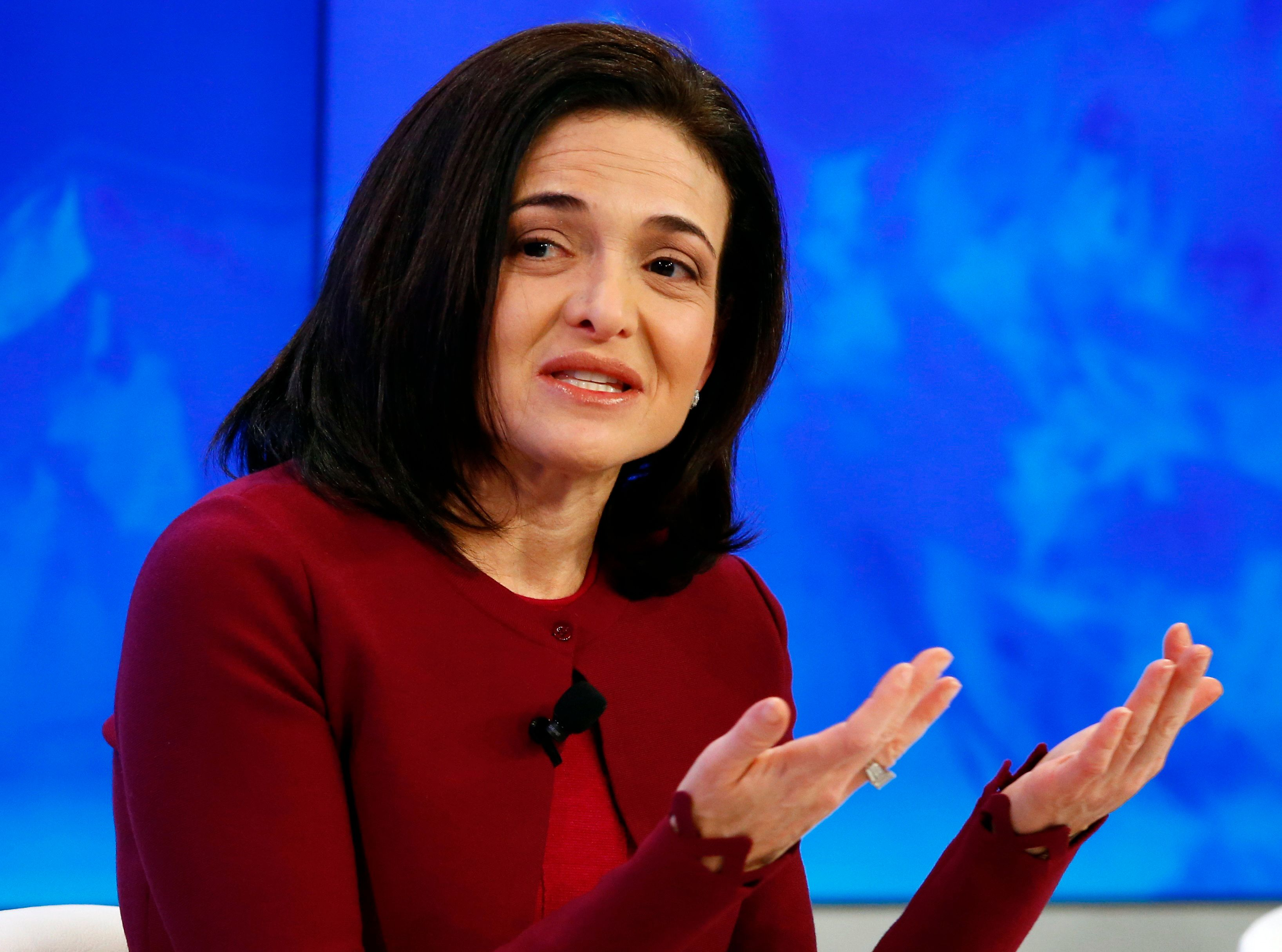 "Sheryl Sandberg, Chief Operating Officer of Facebook attends the session ""The Transformation of Tomorrow"" during the annual meeting of the World Economic Forum (WEF) in Davos, Switzerland January 20, 2016.  REUTERS/Ruben Sprich"