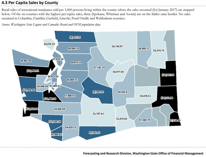 The three Washington counties with the greatest per-capita sales of marijuana all border the prohibition state of Idaho.