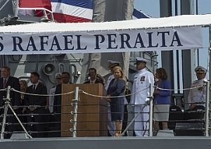 Ship sponsor, Rosa Maria Peralta watches after giving the order to man the ship and bring USS Rafael Peralta to life during t