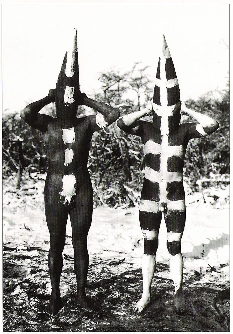 Selknam in ceremonial body paint, photograph Martin Gusinde, 1923