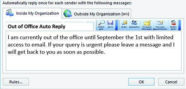 out of the office message
