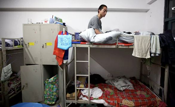 Overcrowded workers dormitory at the Foxconn factory in China.
