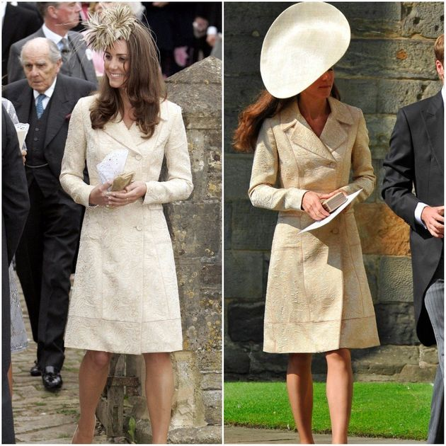L: At Laura Parker Bowles' wedding in 2006. R: At Zara Phillips' wedding in