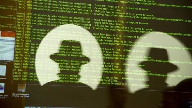 A code is displayed at the Black Hat cybersecurity conference in Las Vegas last year. Michigan has created a volunteer cybers