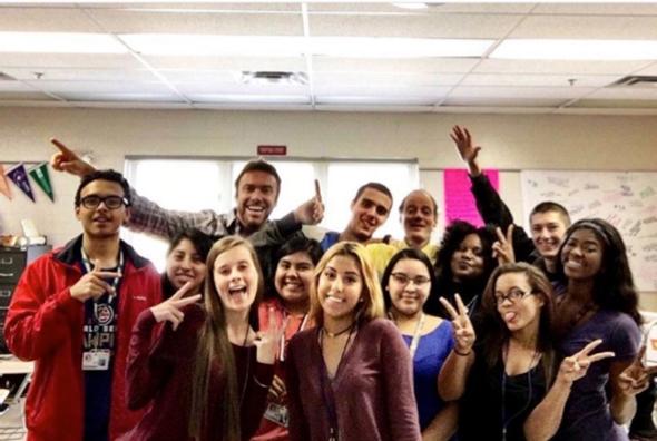 <em>Alex Boylan giving a DreamJobbing workshop at high schools in Florida. </em>