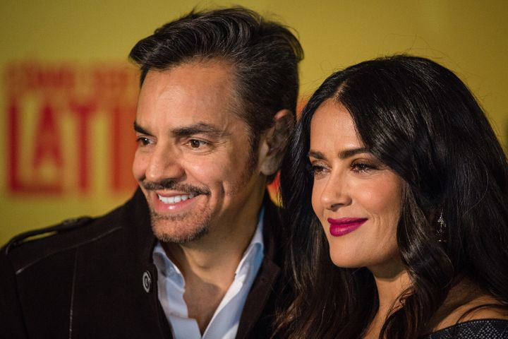"""Actor Eugenio Derbez and actress Salma Hayek at a press conference for their film """"How to be a Latin Lover."""""""