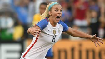 SAN DIEGO, CA - JULY 30: Julie Ertz (8) of USA celebrates after scoring the game winning goal in the second half during the Tournament of Nations soccer match between USA and Brazil on July 30, 2017 at Qualcomm Stadium in San Diego, CA. USA defeated Brazil 4-3. (Photo by Chris Williams/Icon Sportswire via Getty Images)
