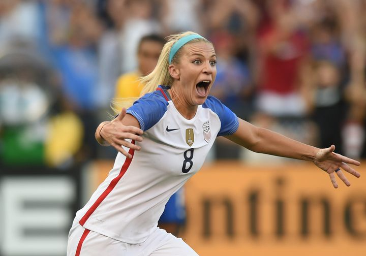 Julie Ertz reacts after scoring the game-winner against Brazil.