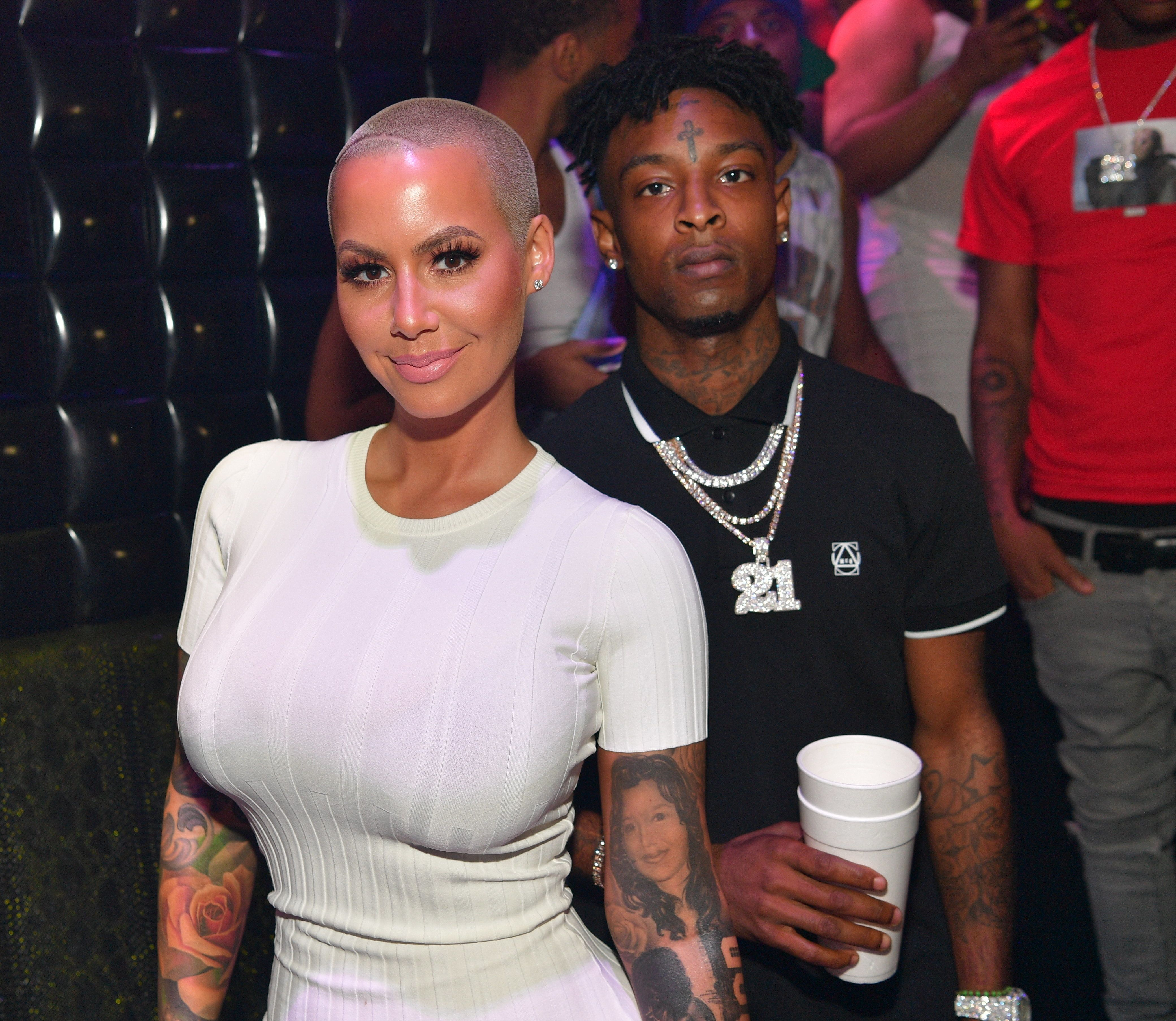 Amber Rose and 21 Savage attend a party hosted by Amber Rose on July 23 in Atlanta, GA.
