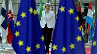 British Prime Minister Theresa May arrives at the EU summit in Brussels, Belgium, June 23, 2017.         REUTERS/Eric Vidal