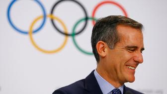 Mayor of Los Angeles Eric Garcetti attends the briefing of 2024 Olympic Games candidate cities Paris and Los Angeles ahead of final election of 2024 Olympic host city, in Lausanne, Switzerland July 11, 2017. REUTERS/Pierre Albouy