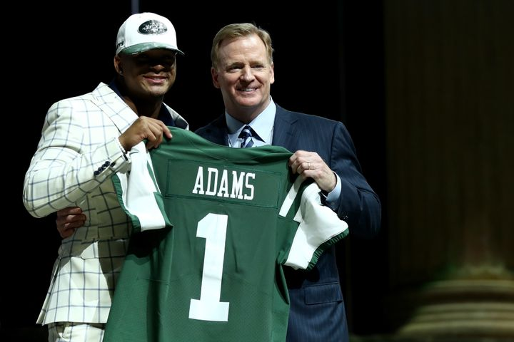 Jamal Adams poses with Roger Goodell after being picked No. 6 overall by the New York Jets during the first round of the 2017