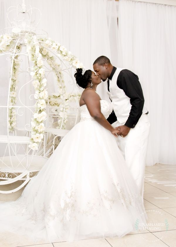 """Courtney and DeAndre tied the knot on July 29 at Crystal Ballroom at Veranda in MetroWest, Florida."" -- <i>Anesha"