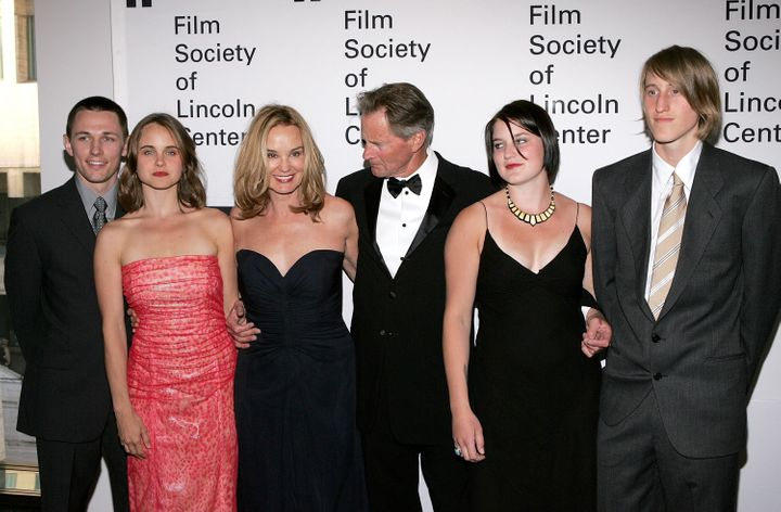 Sam Shepard and Jessica Lange pose with family members in 2006.
