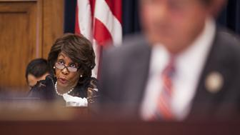 Representative Maxine Waters, a Democrat from California and ranking member of the House Financial Services Committee, speaks during a hearing on Capitol Hill in Washington, D.C., U.S., on Thursday, July 27, 2017. Mnuchinruled out prioritizing U.S. debt payments if Congress fails to raise the borrowing limit and repeated his call for quick action by lawmakers. Photographer: Zach Gibson/Bloomberg via Getty Images