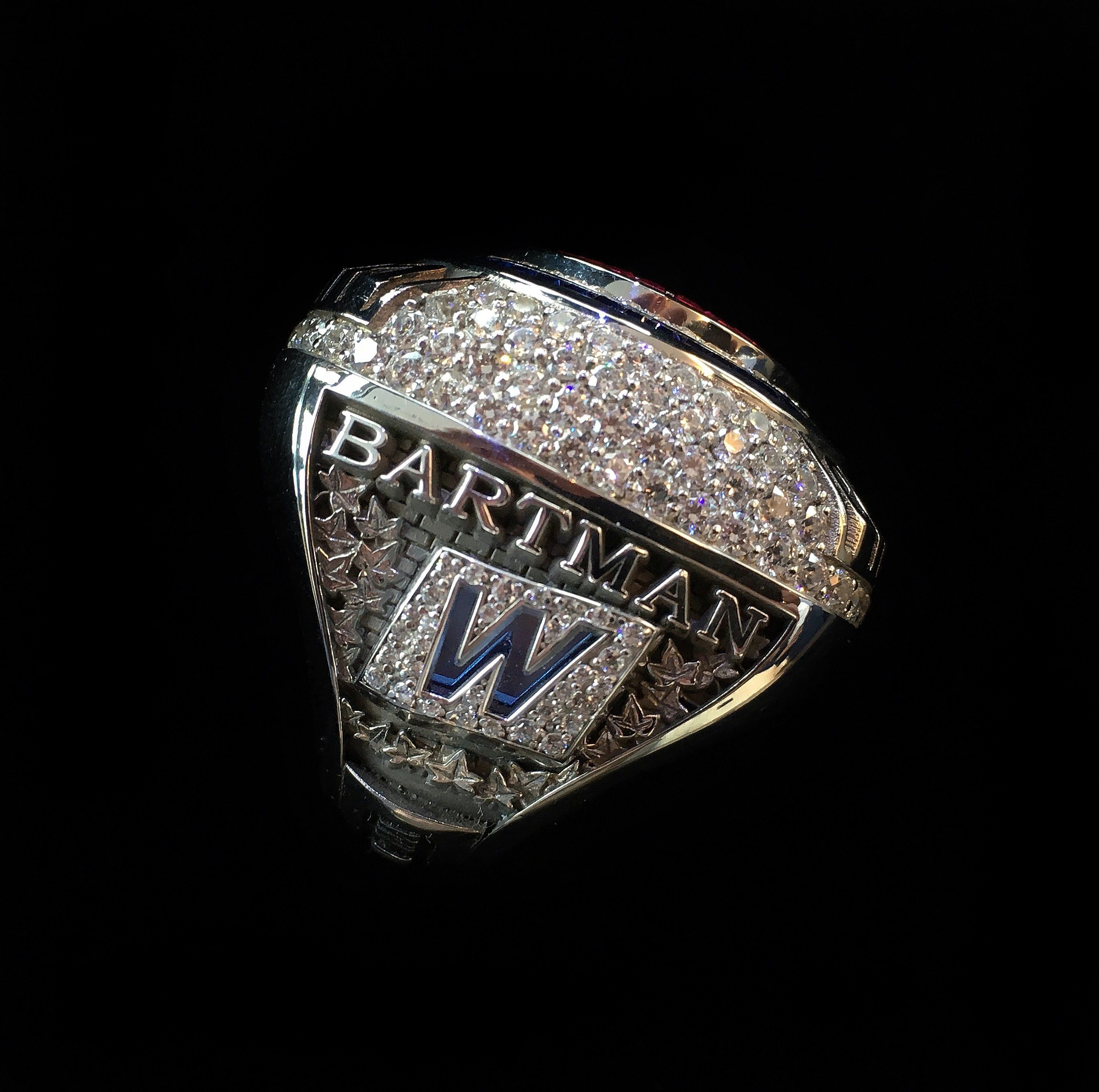 "With 214 5.5-karat diamonds, 33 rubies and 46 sapphires, the 14-karat white gold World Series Championship ring is <a href=""h"
