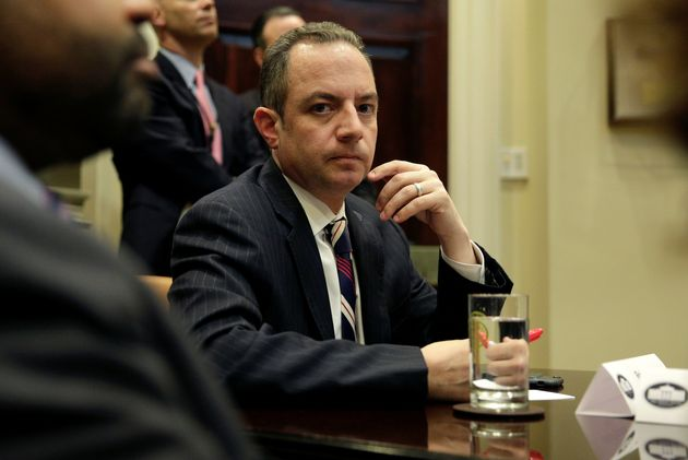 Reince Priebus listens as President Trump meets with Republican congressional leaders at the White House...