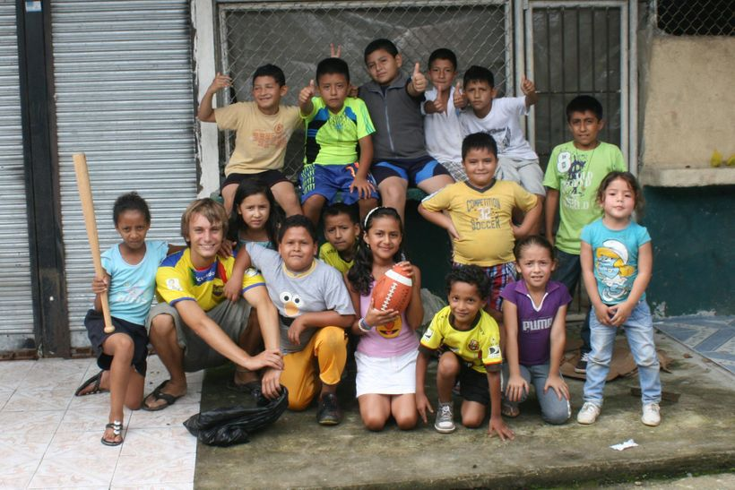 During his last few months in Ecuador, Nathan enjoyed teaching American sports (baseball and football) to children in the loc